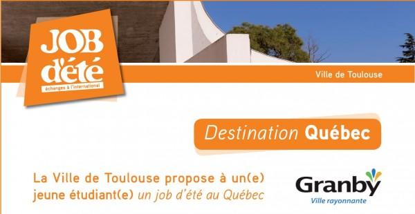 Projet d'échanges de jobs d'été à l'international entre la Ville de Toulouse et la ville de Granby (Québec)